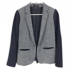 J Crew Contrast Knit Navy Blazer Jacket Wool Blend